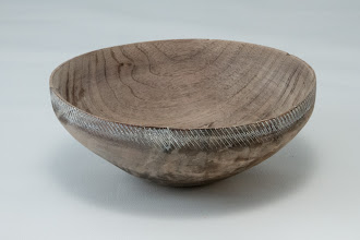 "Photo: Elliot Schantz 4 1/2"" x 1 3/4""  bowl  [walnut, textured and colored]"