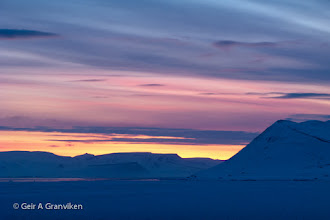 Photo: Dawn over Isfjorden, Svalbard. Taken from Longyear airport. It is April, and the long polar night is over, and it is never gets darker than twilight. Soon the sun will stay above the horizon around the clock.