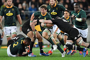 Kwagga Smith of the Springboks is tackled by Kieran Read fo the All Blacks during the 2019 Rugby Championship Test Match between New Zealand and South Africa at Westpac Stadium on July 27, 2019 in Wellington, New Zealand.