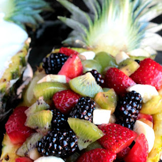 Jungle Pineapple Boat (Mixed Fruit Pineapple Boat & Pineapple Fruit Dip)