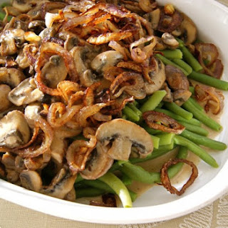 Green Beans with Sherried Mushrooms and Fried Shallots