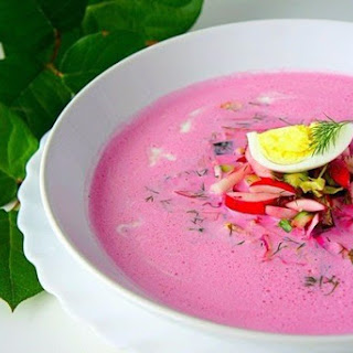 «Cold summer soup with beetroot and yogurt (diet version)»
