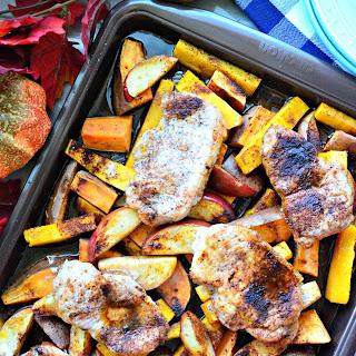 Sheet Pan Harvest Pork Chop Dinner.