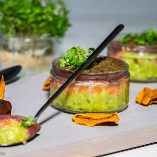 Salmon And Tuna Tartare With Avocado Puree And Truffles.