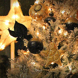 Black and Gold Christmas by Lena Arkell - Public Holidays Christmas ( gold, star, tree, black, ornaments, christmas, lights,  )