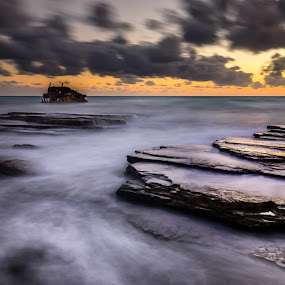 Mythical by Theodoros Theodorou - Landscapes Waterscapes ( achaios, x-t1, 16mm f1.4 r wr, long exposure, seascape, ship wreck, akrotiri, limassol, waterscape, fujinon, sunset, fujifilm, cyprus )