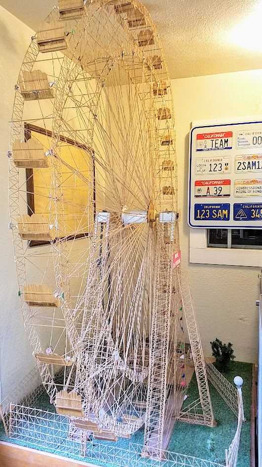 8 foot high Ferris wheel crafted out of 250,000 toothpicks in 10 months as part of a toothpick circus by prisoner Billy Burk. The ferris wheel at least is on display at the Folsom Prison Museum