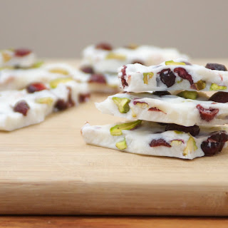 Frozen Yogurt Bark with Cranberries and Pistachios.