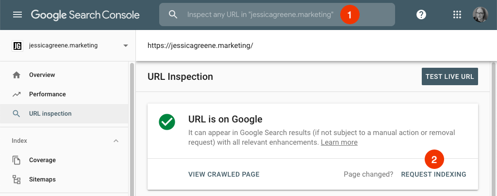 request reindexing in google search console