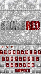 Silver Red Glitter Keyboard Theme - náhled