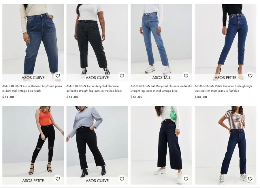 Oysho have added labels that help customers look for jeans correlating to their body shape as nudges for higher retention