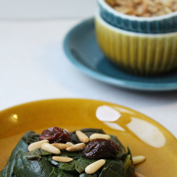 SautéEd Spinach with Raisins and Pine Nuts Recipe
