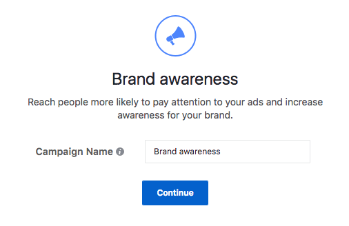 Facebook Brand Awareness campaign. Ads Option