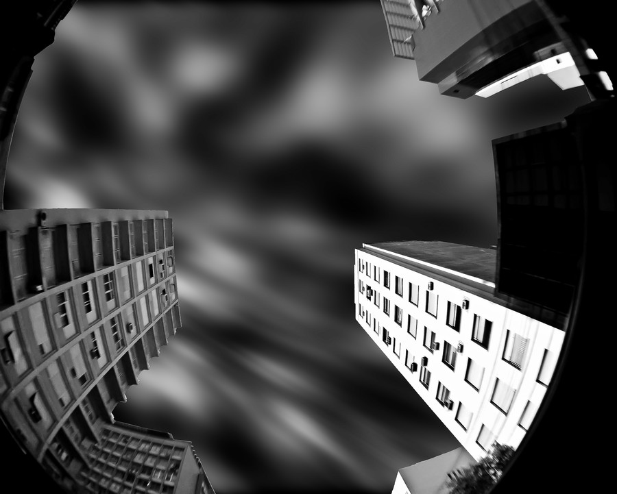 Neighborhood I by Rodrigo Luft - Buildings & Architecture Office Buildings & Hotels ( fisheye, building, black and white, downtown )