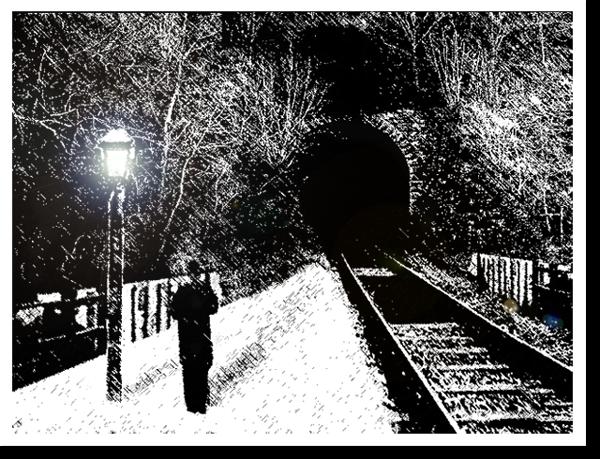 Noche de frío en la estación del tren