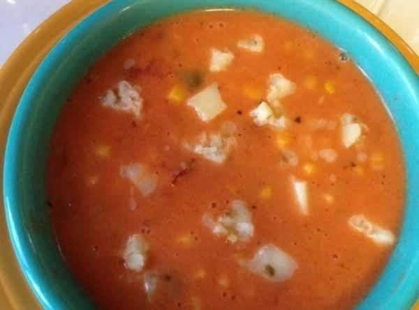 Spicy Corn Chowder Topped W/ Crumbled Hot Pepper Jack Cheese