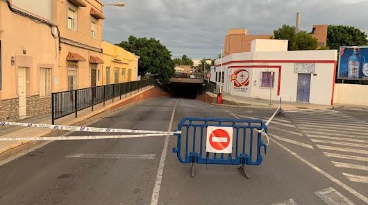 Imagen del mes de octubre del túnel del Camino de La Goleta cortada al tráfico.