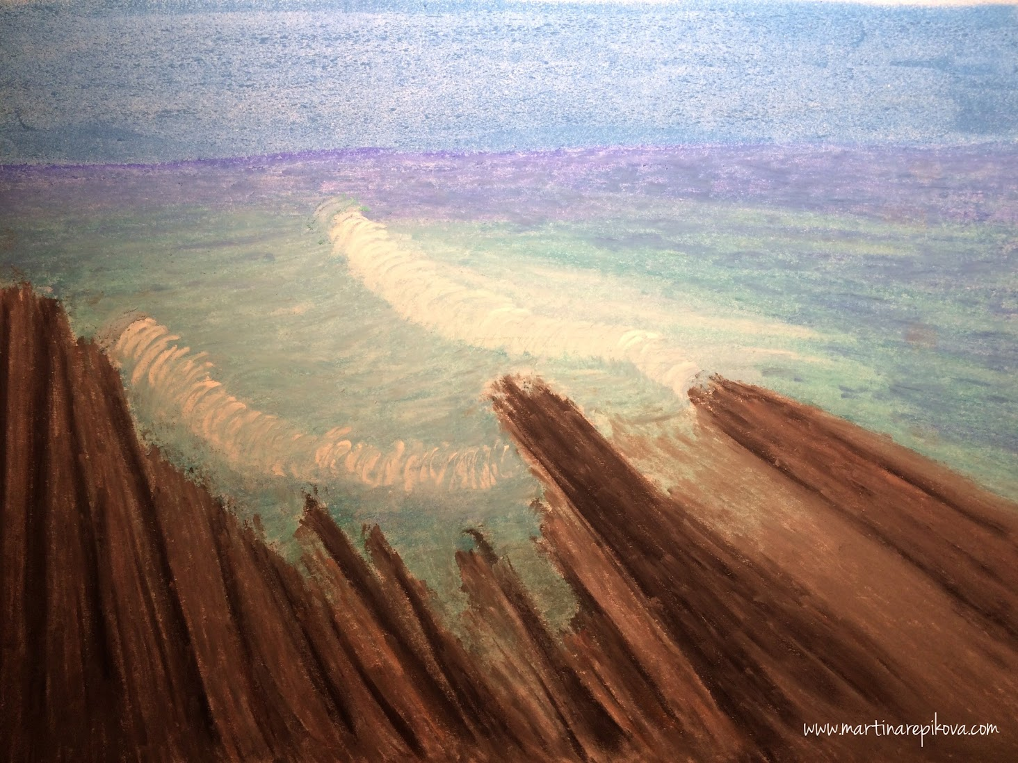 Tsitsikamma seaside in South Africa (a pastel drawing)