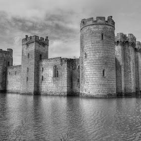 Bodiam Castle by Martin Hughes - Black & White Buildings & Architecture ( bodiam castle )