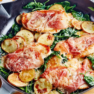 Chicken Saltimbocca with Spinach and Potatoes.