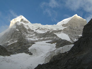 Photo: Shivling twin summits, main summit at left and west-summit at right