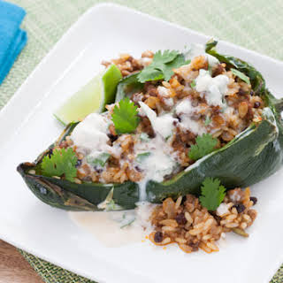 Rice & Beef-Stuffed Poblano Peppers with Lime-Crema Sauce.