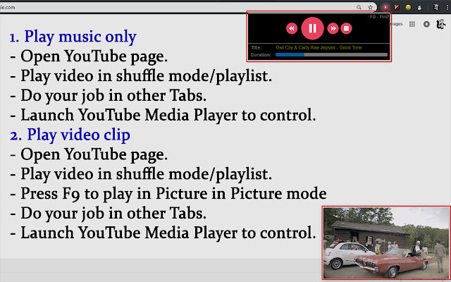 YouTube Music Player and Picture in Picture