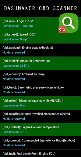 DashMaker OBD Scanner Screenshot
