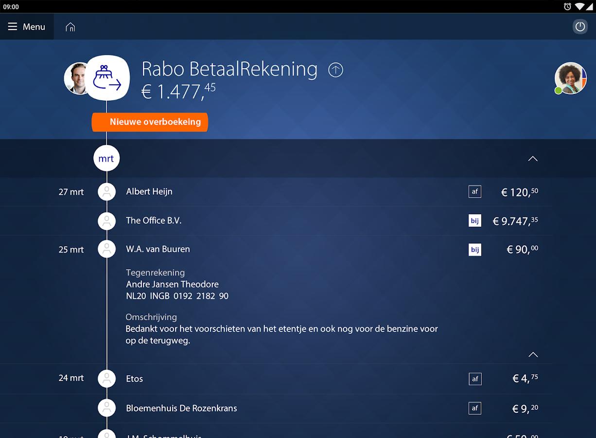 Rabo Bankieren- screenshot