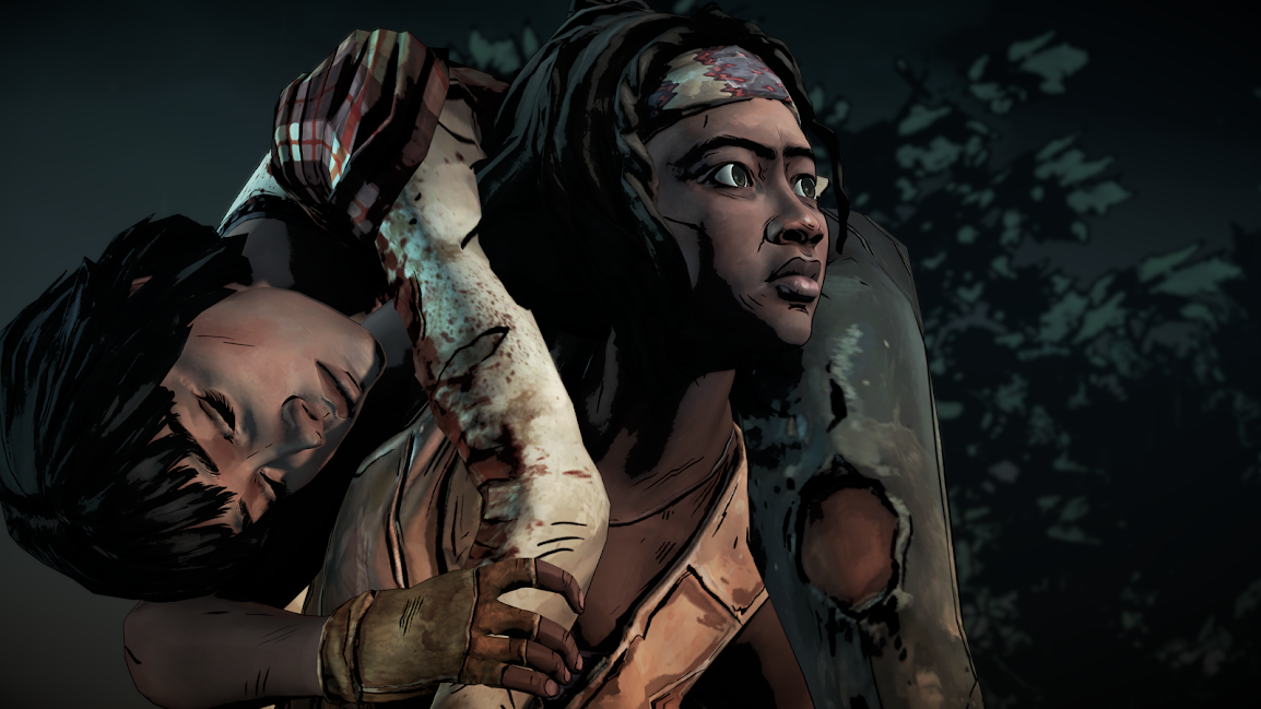 The Walking Dead Michonne carrying Sam