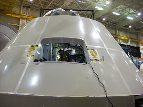 Photo: Astronaut David Saint Jacques in Orion Crew Module Mock-Up at JSC Space Mockup-Facility (Bldg 9) in Houston, Texas.