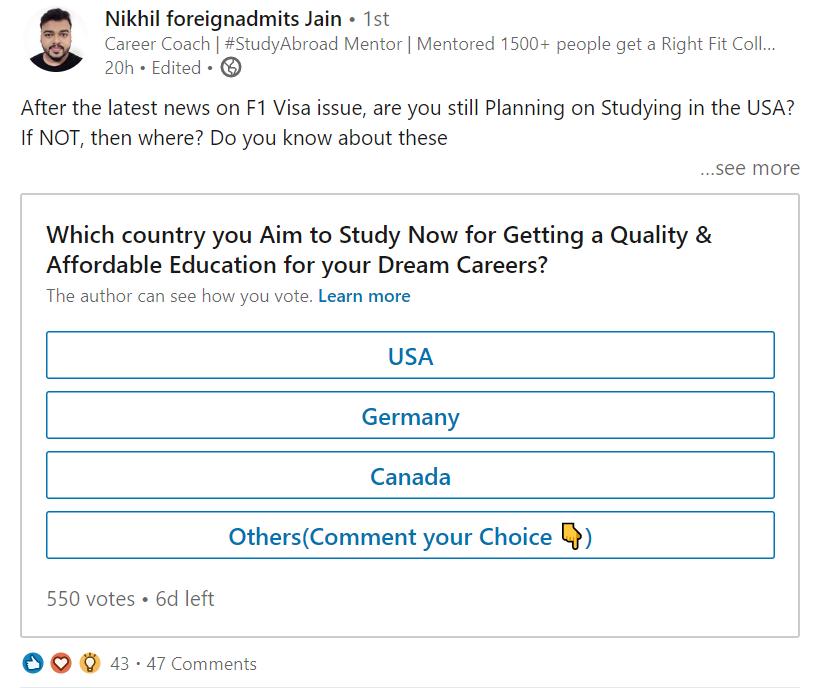 Linkedin ankete