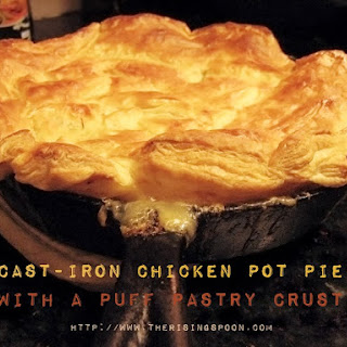 Cast-Iron Chicken Pot Pie with Puff Pastry Crust.