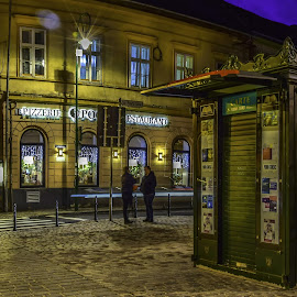 book store by George Nutulescu - City,  Street & Park  Night