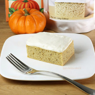 Pumpkin Protein Cake with Cream Cheese Protein Frosting.
