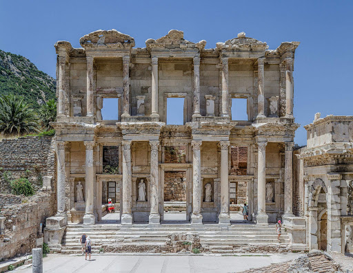 Ephesus-Celsus-Library-Facade.jpg - Façade of the Library of Celsus library in Ephesus, Turkey. See it on a Mediterranean cruise.