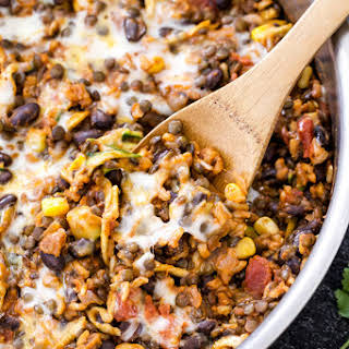 One Pot Cheesy Mexican Lentils with Black Beans and Rice.