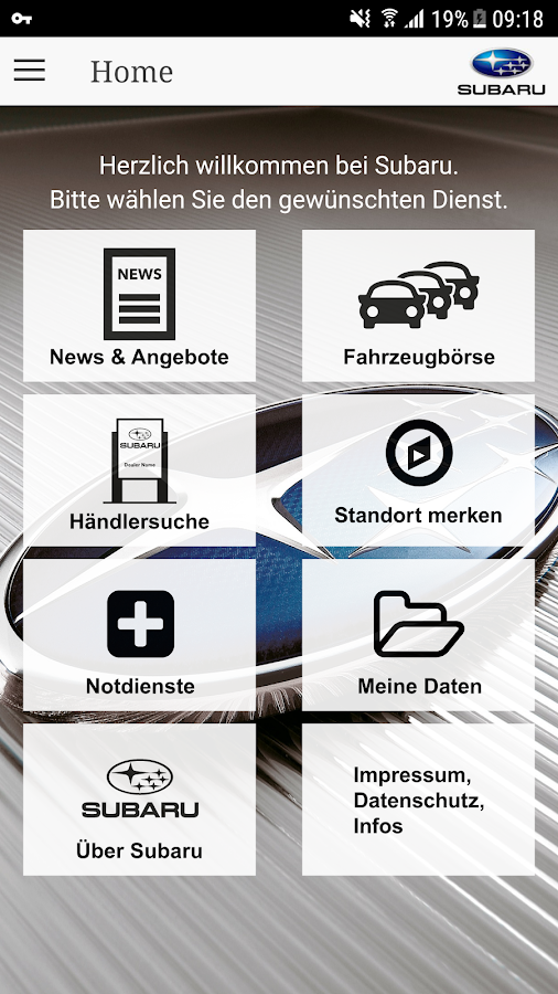 Subaru Service-App – Screenshot