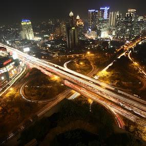 City lights shine like diamonds.  by Jaya Prakash - City,  Street & Park  Street Scenes