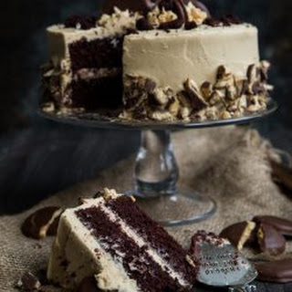 Girl Scout Tagalong Cookie Cake with Chocolate Fudge Cake and Whipped Peanut Butter Frosting.
