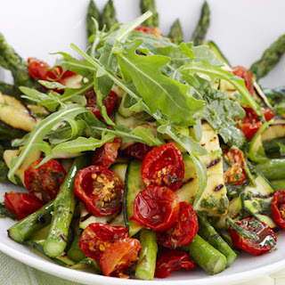 Char-Grilled Asparagus, Zucchini and Halloumi Salad