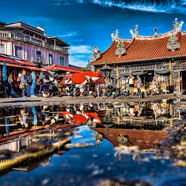 Reflections by Adrian Choo - Buildings & Architecture Places of Worship ( sky, blue, reflections, buildings, temple, heritage, pigeons, birds, architecture )
