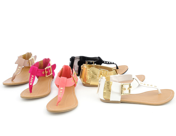 Photo: The color palette of spring hues makes its debut with these thong sandals.