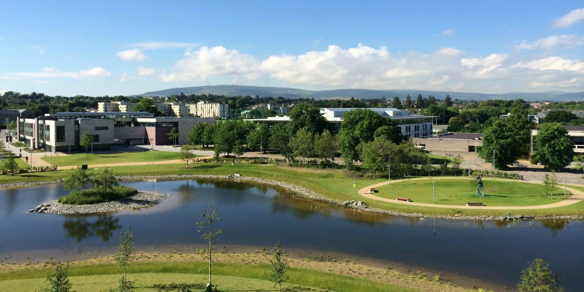 View towards the Dublin mountains from the UCD main engineering building