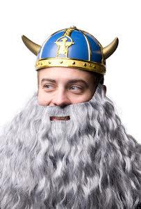 Vikingahjälm, blå/guld