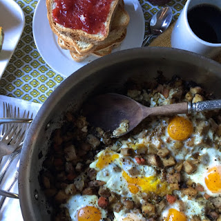 Simple Root Vegetable Hash with Eggs - gluten free, dairy free, soy free.