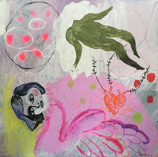 pink-swan-cygnr-rose-fol-amour-coiple-amoureux-conte-femme-ombre-shadow-heart-coeur-cœur-lin-acrylic-collage-sophie-peinture-lormeau-artiste-peinture-french-artist-art-tableau-toile-painting-
