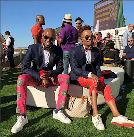 Somizi and his partner at the 2018 Sun Met.