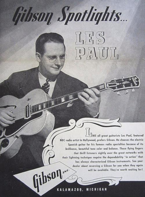 Les Paul Gibsonin mainoksessa