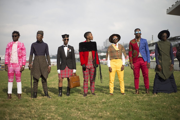 Men's fashion competition at the Durban July.